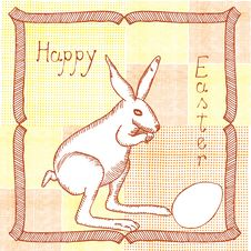 Free Original Drawing Of Easter Bunny With Egg Royalty Free Stock Photos - 24002578