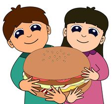 Free Kids Big Burger Royalty Free Stock Photos - 24008018