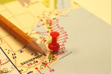 Free The Mark On The Tourist Map Stock Photography - 24009282