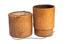 Bamboo Wooden Rice Box Royalty Free Stock Photography