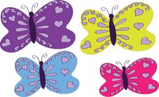 Free Four Varicoloured Butterflies Stock Photos - 24014273