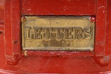 Free Brass Flap With Word LETTERS, Post Office Pillar Stock Images - 24016724