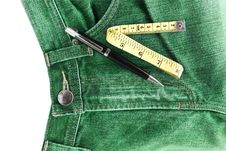 Free Jeans And Measuring Tape Royalty Free Stock Photography - 24017427