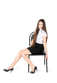 Free Beautiful Girl Sits On Chair Stock Image - 24019471