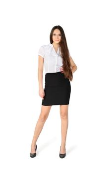 Free Beautiful Girl Wearing Skirt And Shirt Stands Stock Photos - 24019483