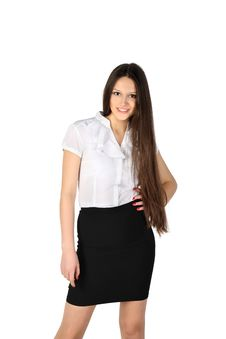 Free Girl Wearing Skirt And Shirt Smiles Stock Photography - 24019492