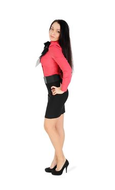 Free Girl Wearing Skirt And Red Shirt Stands Royalty Free Stock Images - 24019809