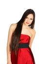 Free Beautiful Girl Wearing Long Red Dress Royalty Free Stock Image - 24022536