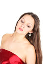 Free Beautiful Girl Wearing Red Dress Looks Down Royalty Free Stock Photos - 24022918