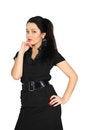 Free Girl Wearing Short Black Dress Looks At Camera Stock Photos - 24022973