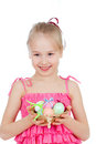 Free Smiling Girl Holding Easter Eggs In Basket Royalty Free Stock Images - 24025819