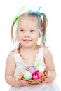 Free Cute Smiling Little Girl With Easter Eggs Royalty Free Stock Image - 24026226