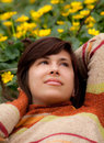 Free Pretty Woman Lying In Yellow Flowers Royalty Free Stock Photos - 24028318