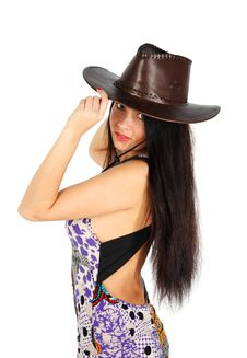 Free Beautiful Girl Wearing Dress And Leather Hat Royalty Free Stock Photography - 24020437