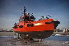 Free Orange Pilot Boat Royalty Free Stock Photography - 24022497