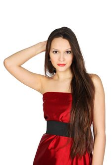 Free Young Girl Wearing Red Dress Touches To Hair Royalty Free Stock Photo - 24022625