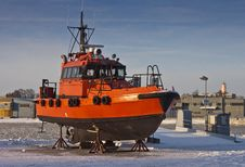 Orange Pilot Boat Stock Photo