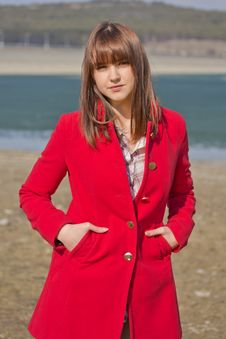 Free Girl In Red Coat Stock Photography - 24025032