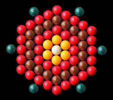 Free Colorful Snooker Balls Arrange In Hexagonal Shape Stock Photos - 24026153