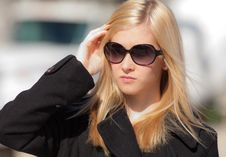 Free Blonde Teenager In Sunglasses Royalty Free Stock Photography - 24028627