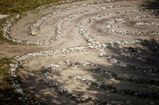 Stone And Shell Labyrinth Stock Photo