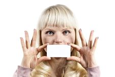 Free Girl Holds A Business Card Stock Image - 24035291