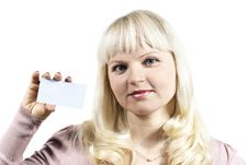 Free Girl Holds A Business Card Stock Image - 24035301