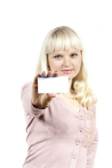 Beautiful Girl Holding A Business Card Royalty Free Stock Photo
