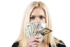 Free Beautiful Girl Holding Money Stock Photo - 24035740