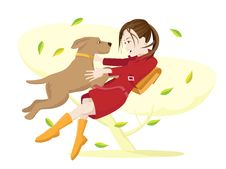 Free Girl And Dog. Royalty Free Stock Photography - 24037907