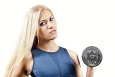 Free Girl Athlete With Weights Stock Images - 24038014