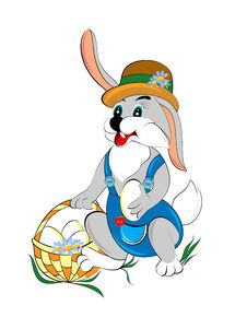 Easter Bunny And Basket With Eggs Royalty Free Stock Photography
