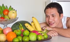 Free Man Looking At Fruits Stock Photography - 24039912