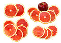 Free Isolated Grapefruit Slices With Apple Royalty Free Stock Photos - 24040998