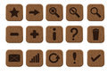 Free Wooden Icons Set Royalty Free Stock Photos - 24042128