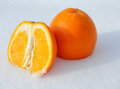 Free Close-up Of Pieces Of Cut Orange In White Snow Royalty Free Stock Photo - 24047465