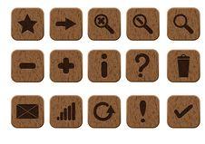 Wooden Icons Set Royalty Free Stock Photos