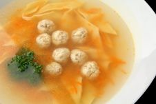 Free Chiken Noodle Soup With Noisettes Closeup Stock Photos - 24043413