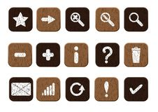 Wooden Icons Set White Royalty Free Stock Photography
