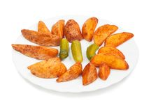 Free Fried Potato With Pickles Stock Photo - 24045310