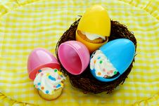 Free Cupcakes Hatch From Easter Eggs Stock Image - 24045821