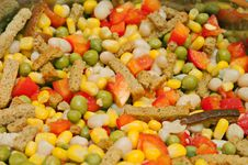 Free Vegetables Salad With Bread Sticks Royalty Free Stock Image - 24047556