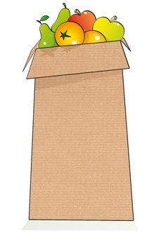 Free Cute Fruit Paper Bag Stock Image - 24048851