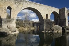 Free Roman Bridge At Besalu, Spain Stock Image - 24054951