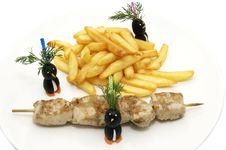 Free French Fries And Kebabs Royalty Free Stock Photos - 24055438