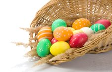 Free Basket With Colorful Easter Eggs Stock Photos - 24055583
