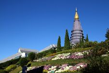 Free Pagoda And Flower Stock Photos - 24056453