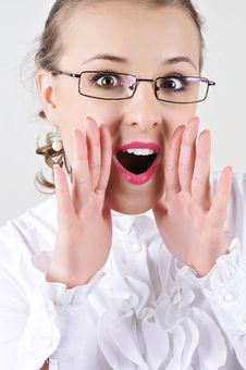 Free Business Woman With Glasses Shouting Stock Images - 24057044
