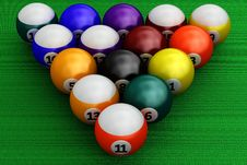 Free Colorful Pool Balls Over Green Royalty Free Stock Photography - 24057627
