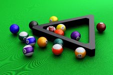 Free Colorful Pool Balls Over Green Stock Images - 24057944